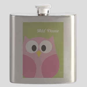 Green Pink Owl Flask