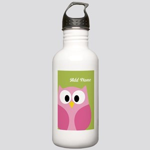 Green Pink Owl Water Bottle