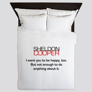 Sheldon Cooper's Happiness Quote Queen Duvet
