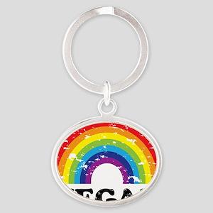 Vegan Rainbow Oval Keychain