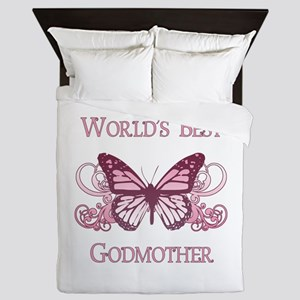 World's Best Godmother (Butterfly) Queen Duvet