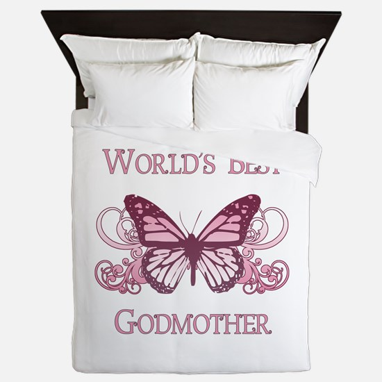 World's Best Godmother (Butterfly) Queen Duvet
