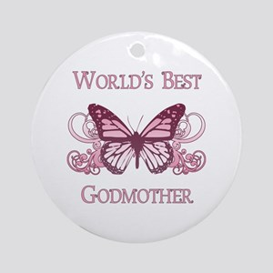 World's Best Godmother (Butterfly) Ornament (Round