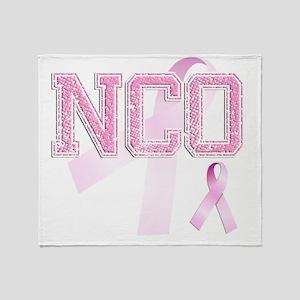 NCO initials, Pink Ribbon, Throw Blanket