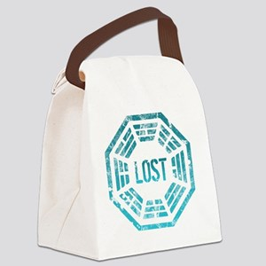 GrungeLostBlue Btn Canvas Lunch Bag