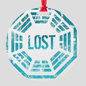 GrungeLostBlue Btn Round Ornament