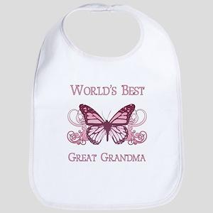 World's Best Great Grandma (Butterfly) Bib