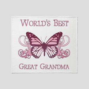 World's Best Great Grandma (Butterfly) Throw Blank