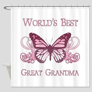 World's Best Great Grandma (Butterfly) Shower Curt