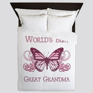 World's Best Great Grandma (Butterfly) Queen Duvet