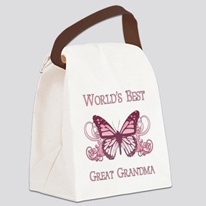 World's Best Great Grandma (Butterfly) Canvas Lunc