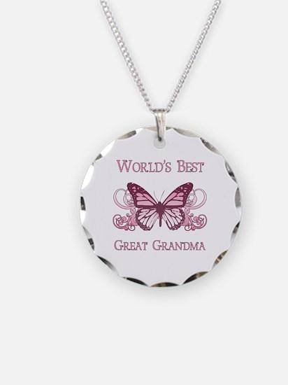 World's Best Great Grandma (Butterfly) Necklace