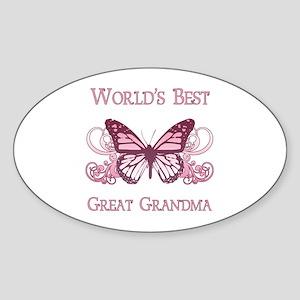 World's Best Great Grandma (Butterfly) Sticker (Ov