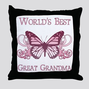 World's Best Great Grandma (Butterfly) Throw Pillo