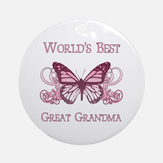 World's Best Great Grandma (Butterfly) Ornament (R