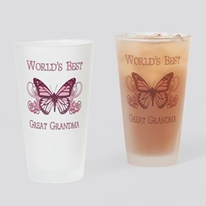 World's Best Great Grandma (Butterfly) Drinking Gl