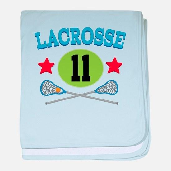 Lacrosse Player Number 11 baby blanket