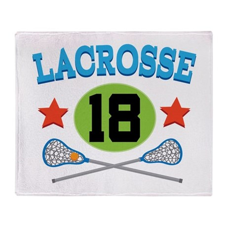 Lacrosse Player Number 18 Throw Blanket