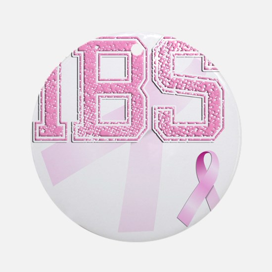 IBS initials, Pink Ribbon, Round Ornament