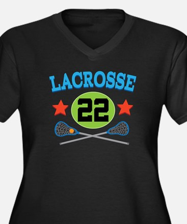 Lacrosse Player Number 22 Women's Plus Size V-Neck