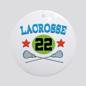 Lacrosse Player Number 22 Ornament (Round)