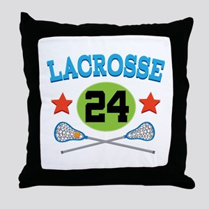 Lacrosse Player Number 24 Throw Pillow