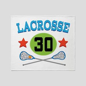 Lacrosse Player Number 30 Throw Blanket