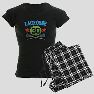 Lacrosse Player Number 30 Women's Dark Pajamas