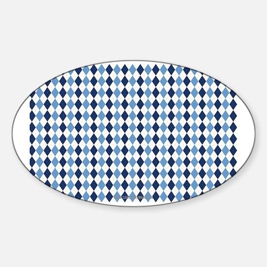 UNC Argyle Carolina Blue Tarheel Sticker (Oval)