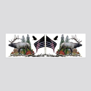 Bull Elk American Flag 20x6 Wall Decal