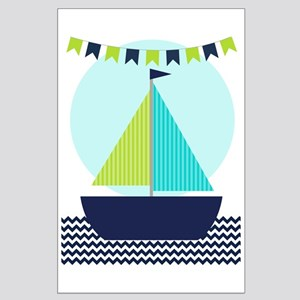 Blue And Green Sailboat On Chevron Large Poster