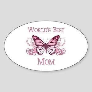 World's Best Mom (Butterfly) Sticker (Oval)