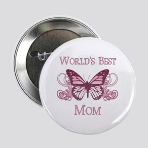 "World's Best Mom (Butterfly) 2.25"" Button"