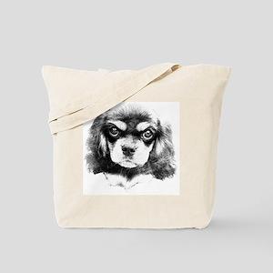 Cavalier King Charles Spaniel, Black and  Tote Bag