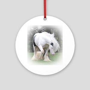 All Whites stallions Round Ornament