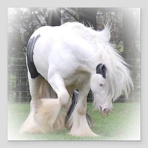 "All Whites stallions Square Car Magnet 3"" x 3"""