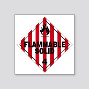 """Flammable Solid Warning Sig Square Sticker 3"""" x 3"""""""
