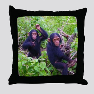 Two Chimps Playing Throw Pillow