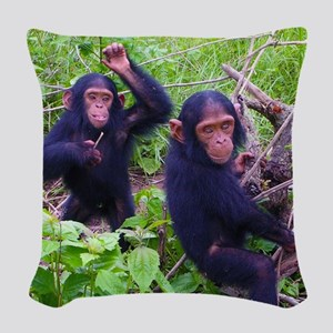 Two Chimps Playing Woven Throw Pillow