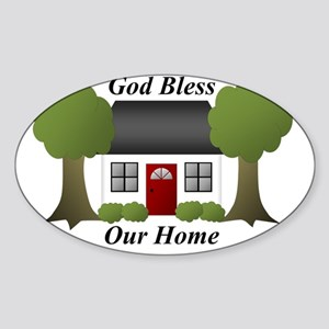 God Bless Our Home Sticker (Oval)
