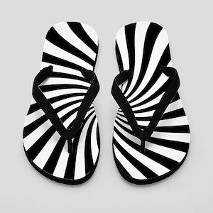 Black White Twist Stripes Flip Flops