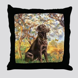 Spring (MP) - Chocolate Lab 11 Throw Pillow