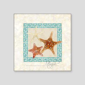 "Starfish Sea Shells Seashel Square Sticker 3"" x 3"""