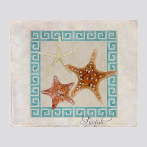 Starfish Sea Shells Seashells, Greek Throw Blanket