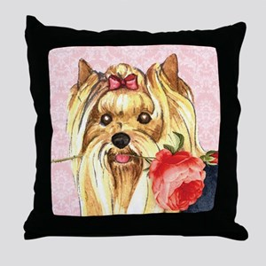Yorkie Rose Throw Pillow