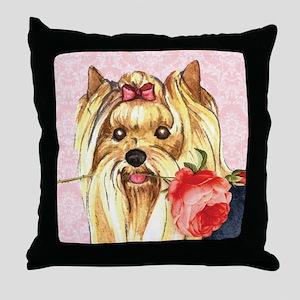 Yorkie Rose Throw Pillow
