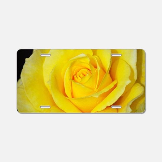Beautiful single yellow ros Aluminum License Plate