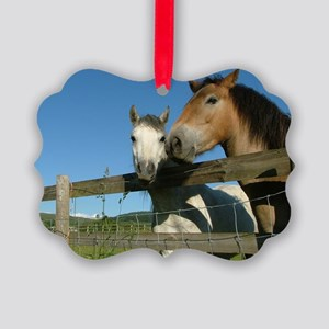Ponies at the fence Picture Ornament