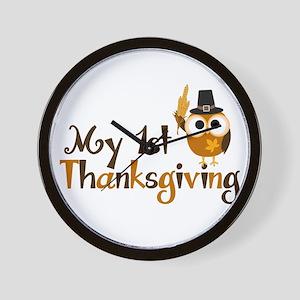 My 1st Thanksgiving Owl Wall Clock