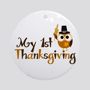 My 1st Thanksgiving Owl Ornament (Round)